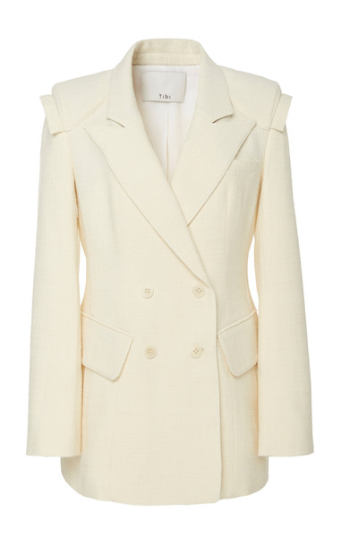 Tibi Basketweave Inside Out Detail Sculpted Blazer in white