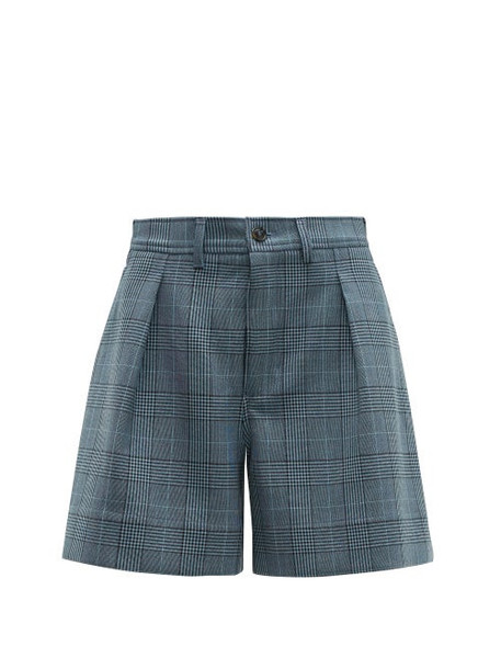Ganni - Prince Of Wales Tailored Shorts - Womens - Grey