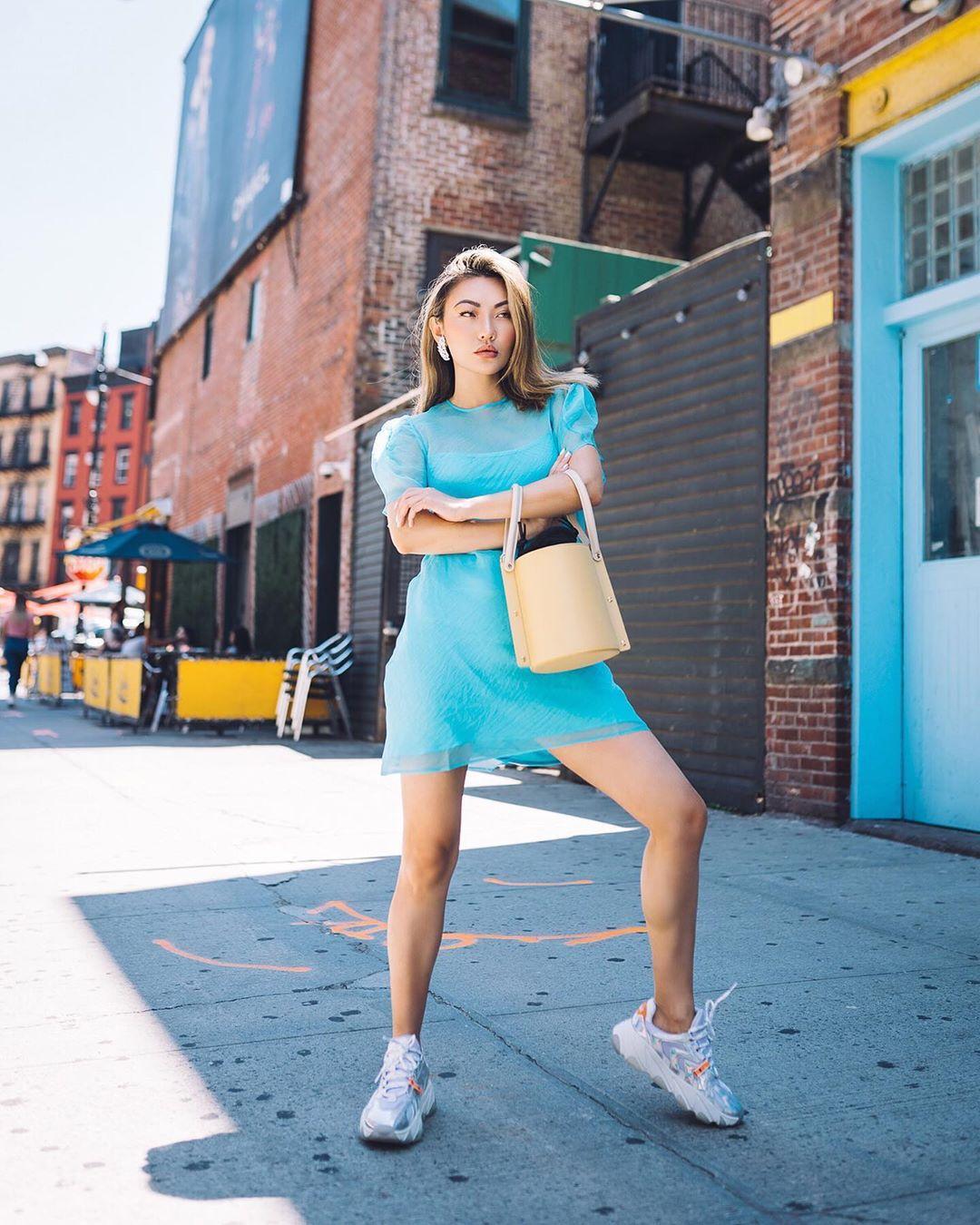 dress mini dress blue dress sneakers bucket bag