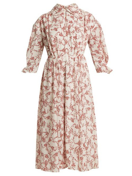 Emilia Wickstead - Narmina Floral Print Point Collar Crepe Dress - Womens - Red White