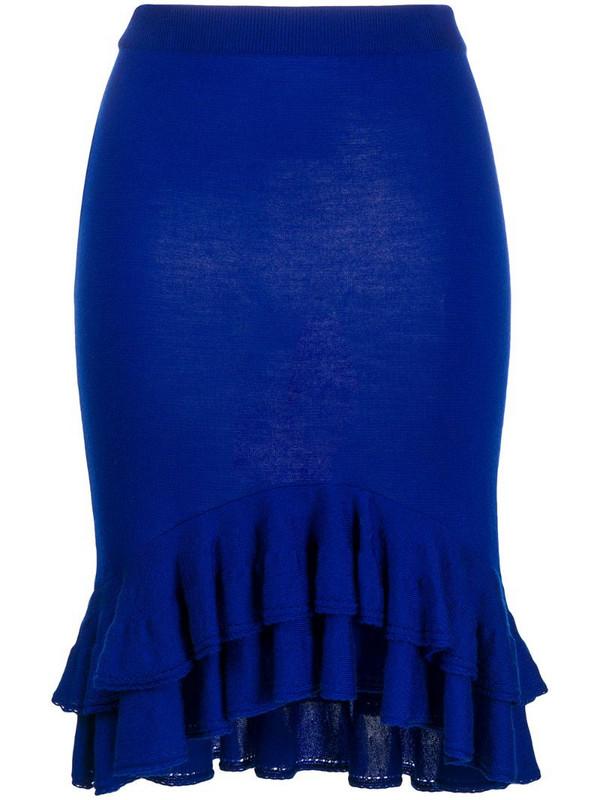 Moschino ruffle hem skirt in blue