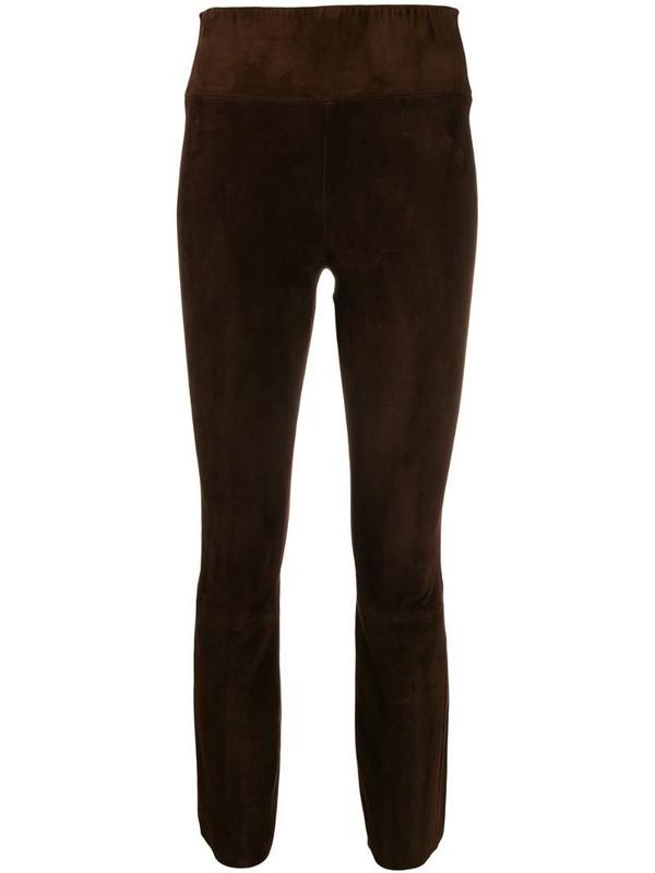 Sprwmn crop flared trousers in brown