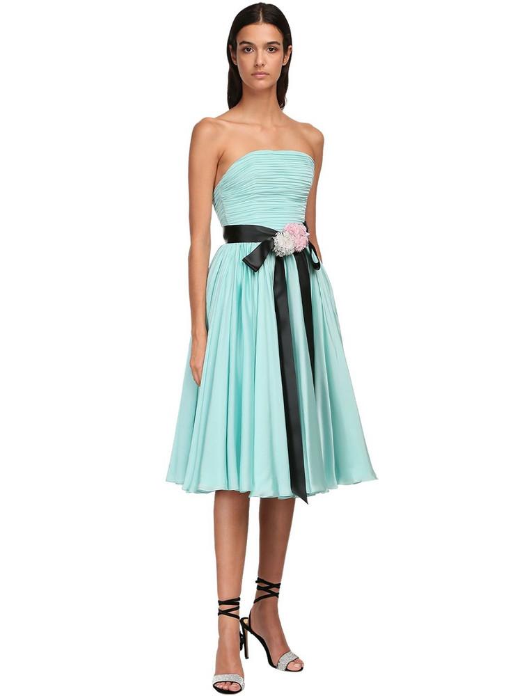 ALEXANDRE VAUTHIER Strapless Chiffon Satin Midi Dress in mint