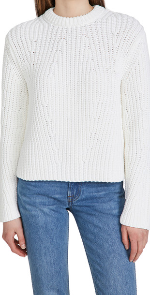 Vince Mirrored Rib Pullover Sweater in white