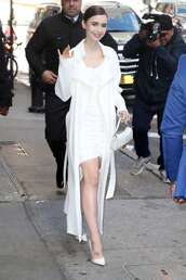 dress,lily collins,celebrity,all white everything,white,white dress,pumps,trench coat