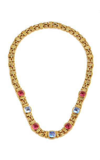 Vintage Bulgari Sugarloaf Tourmaline And Sapphire Necklace in gold