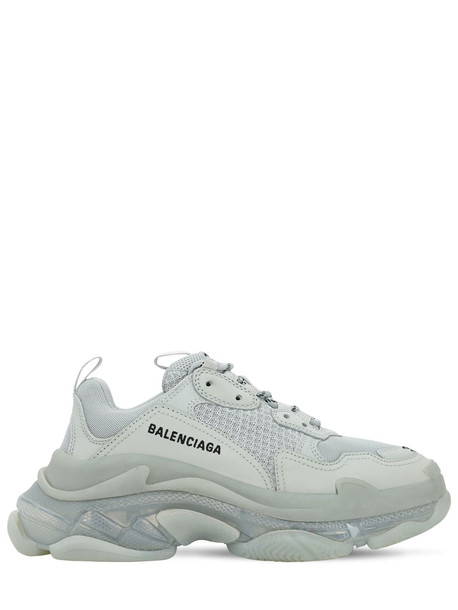 BALENCIAGA 60mm Triple S Air Washed Leather Sneaker in white
