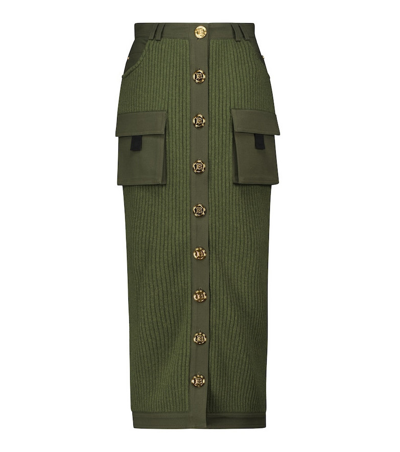 Balmain Ribbed-knit virgin wool midi skirt in green
