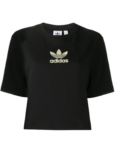 adidas logo embroidered cropped T-shirt in black