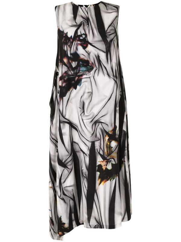 Y's printed sleeveless midi dress in black
