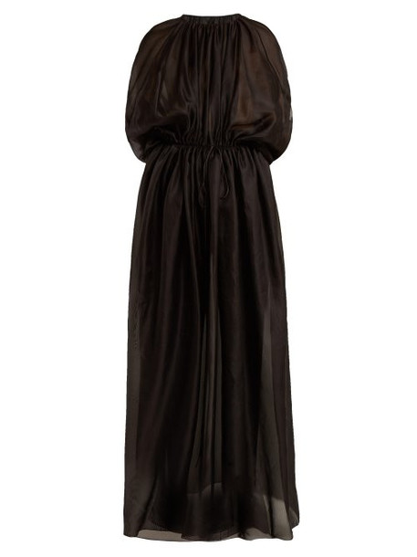 The Row - Regina Gathered Tie Waist Dress - Womens - Black