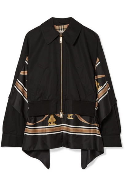 Burberry - Paneled Cotton-gabardine And Printed Silk-twill Jacket - Black