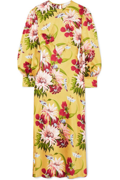 Olivia von Halle - Aureta Floral-print Silk-satin Midi Dress - Yellow