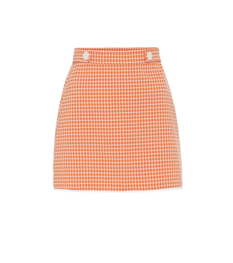 Miu Miu Gingham checked miniskirt in orange