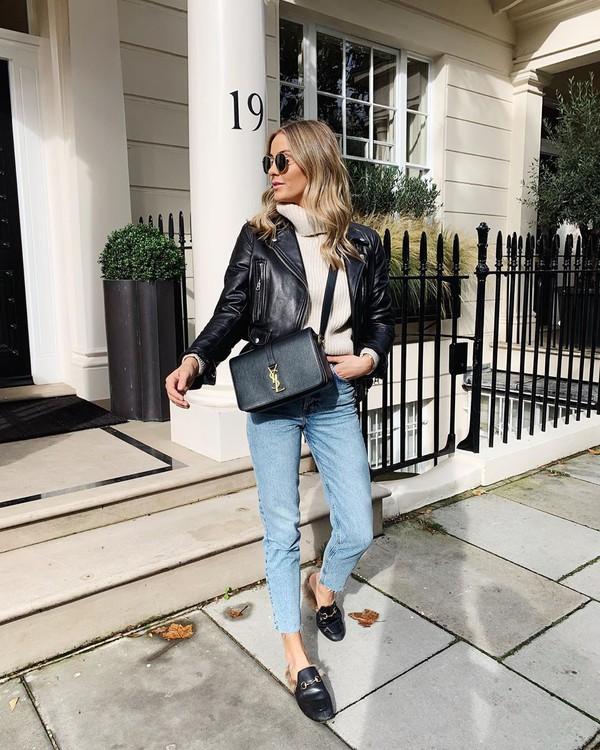 jacket black leather jacket mules skinny jeans black bag ysl bag turtleneck sweater