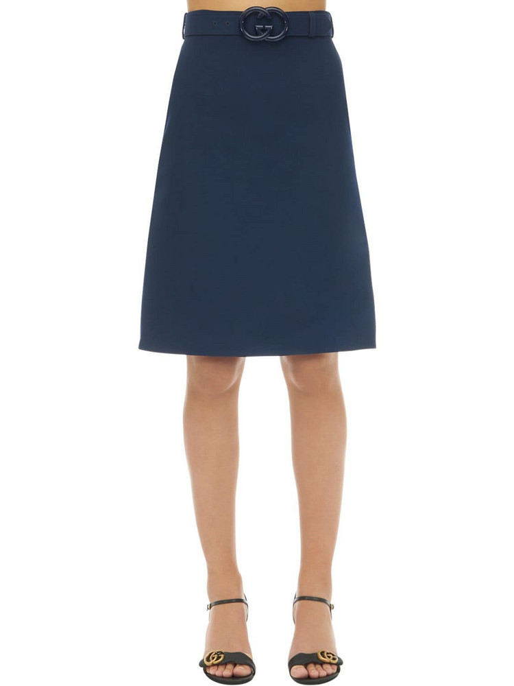 GUCCI Belted Wool & Silk Cady Skirt in blue