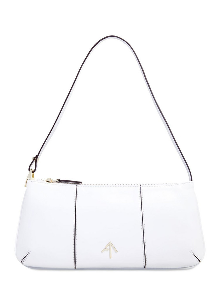 MANU ATELIER Pita Soft Leather Shoulder Bag in white