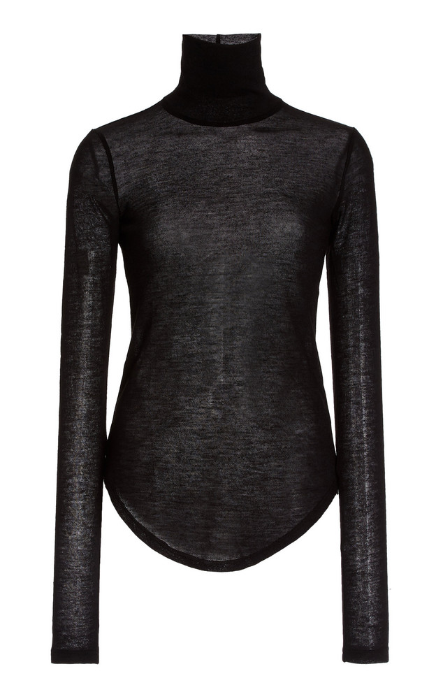 Frances de Lourdes Lucie Cashmere-Silk Turtleneck Top in black