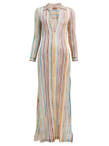 Missoni Mare - Collared Plunge Knit Maxi Dress - Womens - Multi