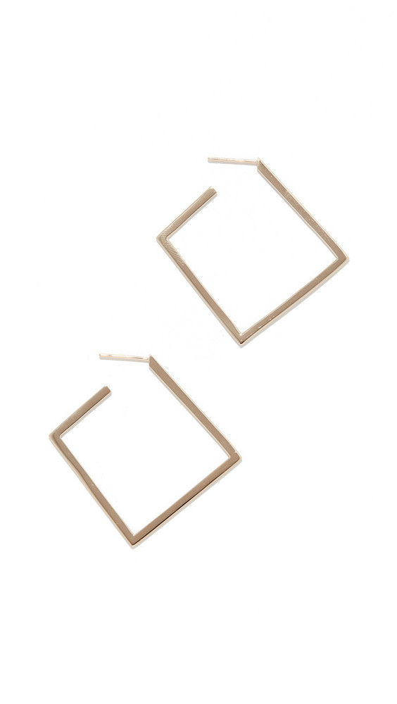 LANA JEWELRY Square Flat Hoops in gold / yellow