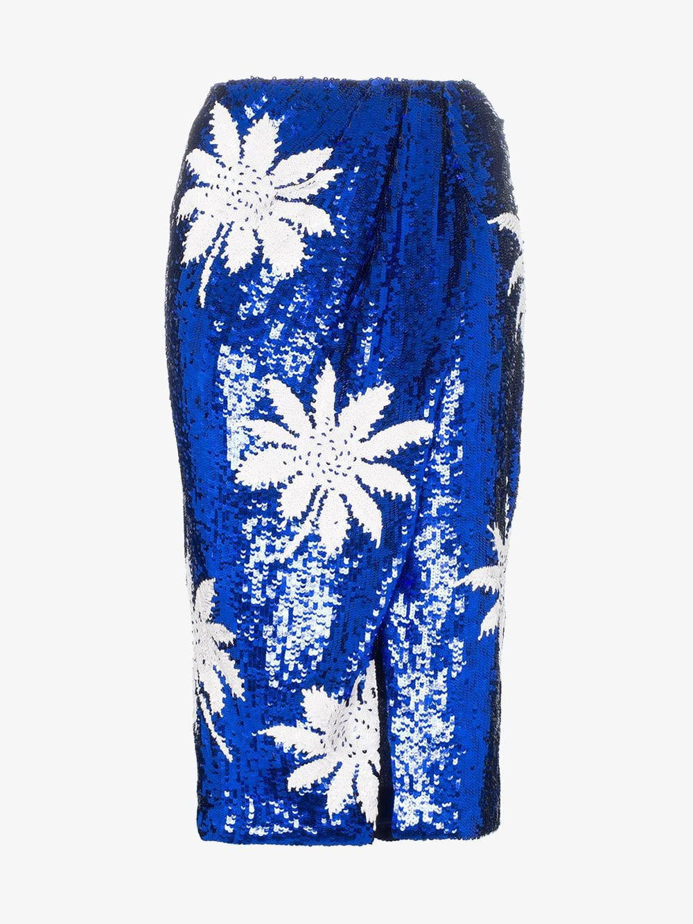 Filles A Papa high-waisted floral sequin embellished skirt in blue