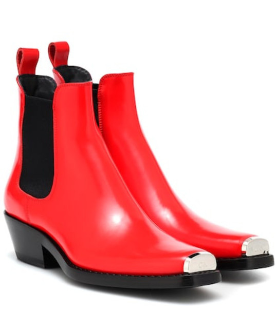 Calvin Klein 205W39NYC Western Claire leather ankle boots in red