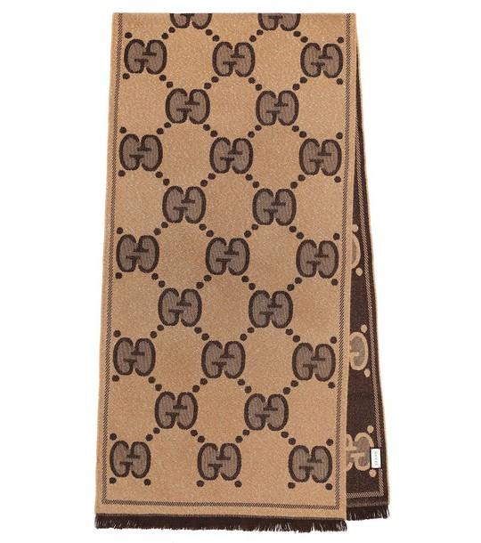 Gucci GG wool-jacquard scarf in beige