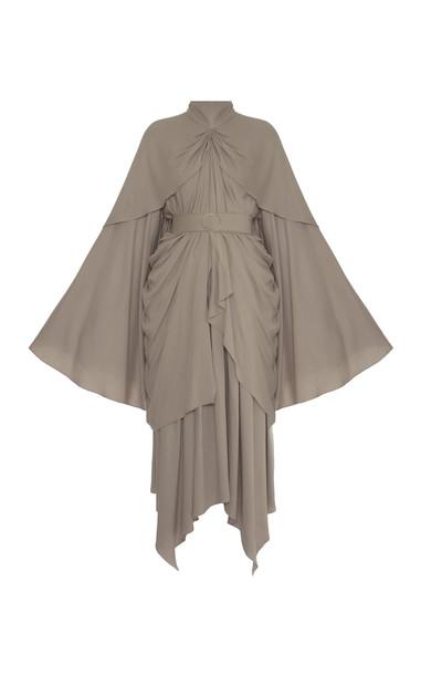 Lado Bokuchava Belted Draped Midi Dress in neutral