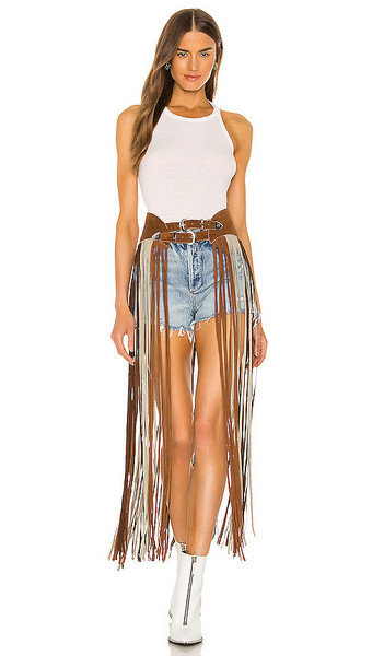 Understated Leather X REVOLVE On The Road Again Fringe Belt in Cognac in tan / multi