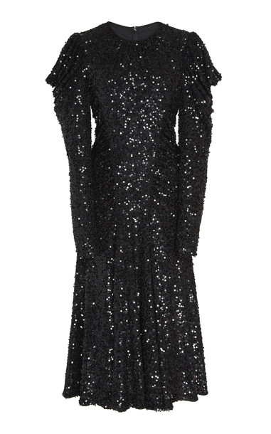 Michael Kors Collection Draped Sequin-Embellished Crepe Midi Dress in black