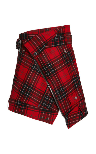 MONSE Wool-Plaid Moto Skirt in red