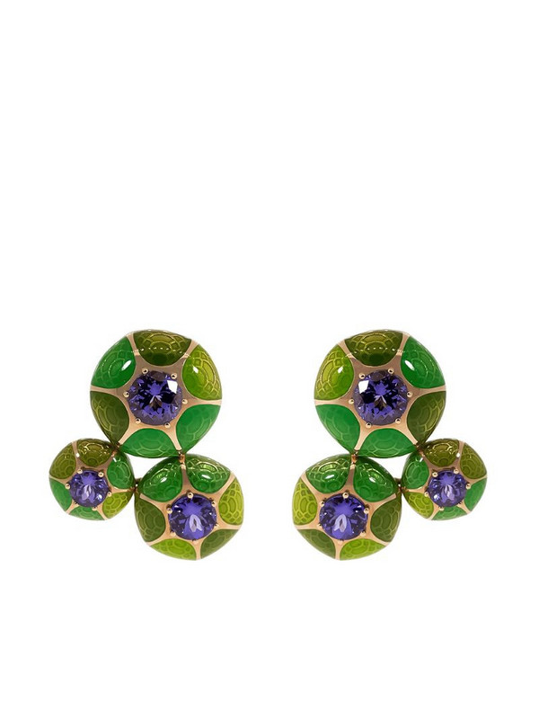 Selim Mouzannar 18kt rose gold three round green enamel and tanzanite earrings
