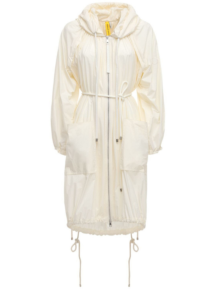 MONCLER GENIUS Diamond Long Recycled Trench Coat in ivory