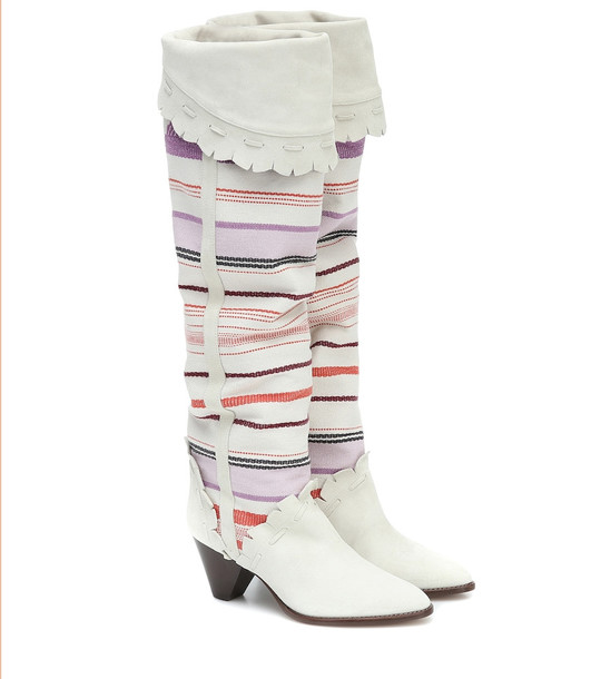 Isabel Marant Luiz suede knee-high boots in white