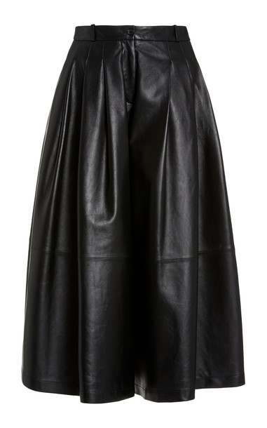 Michael Kors Collection Plongé Leather Culottes in black