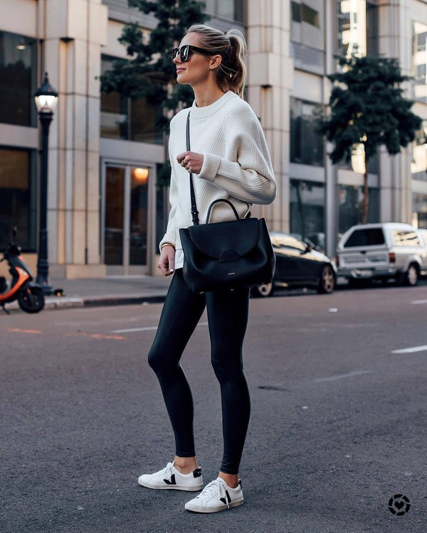 bag black bag black leggings white sneakers white sweater white t-shirt streetstyle black sunglasses