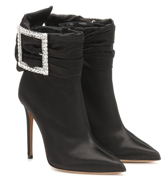 Alexandre Vauthier Yasmin satin ankle boots in black