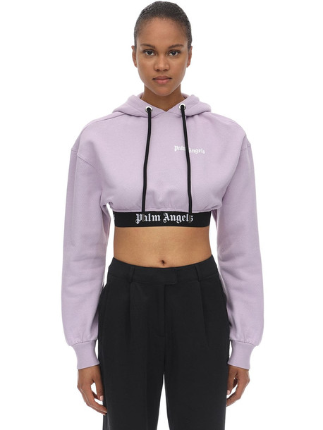 PALM ANGELS Cropped Cotton Jersey Sweatshirt Hoodie in lilac