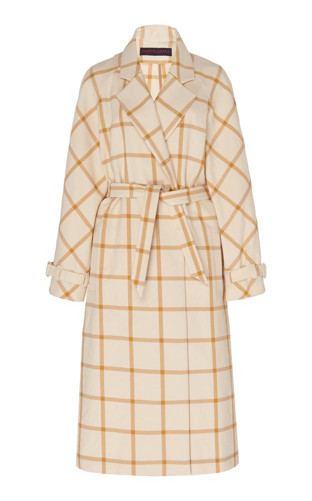 Martin Grant Checked Twill Trench Coat Size: 34 in multi
