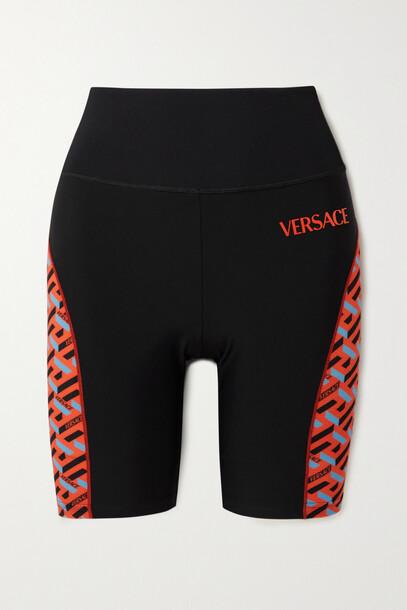 Versace - Printed Mesh-trimmed Stretch Shorts - Black