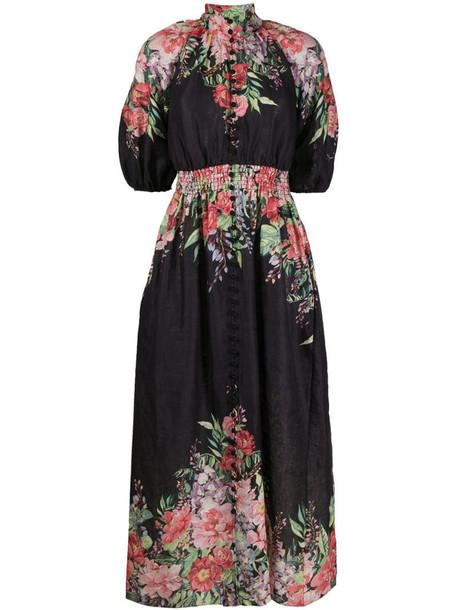 Zimmermann floral-print dress in black
