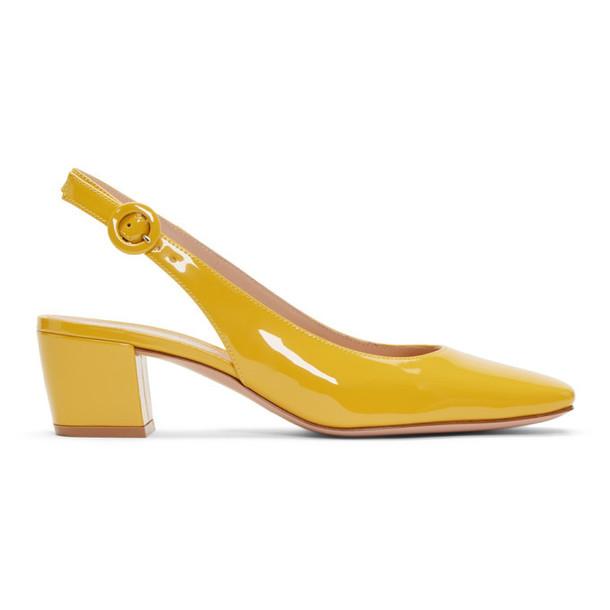 Gianvito Rossi Yellow Patent Cube Heels