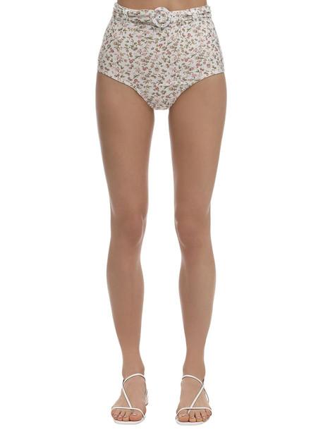 PEONY La Bohème High Waist Bikini Bottoms in white / multi