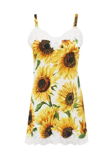 Dolce & Gabbana - Sunflower Print Silk Blend Slip Dress - Womens - Yellow Print