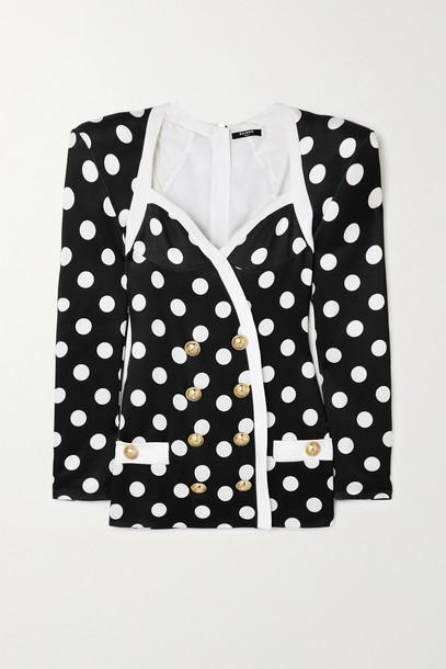BALMAIN - Button-embellished Polka-dot Satin Mini Dress - Black