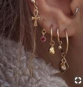 jewels,gold earrings,piercing,earrings,gold,etsy,ear piercings,helix piercing,cross earring,hoop earrings