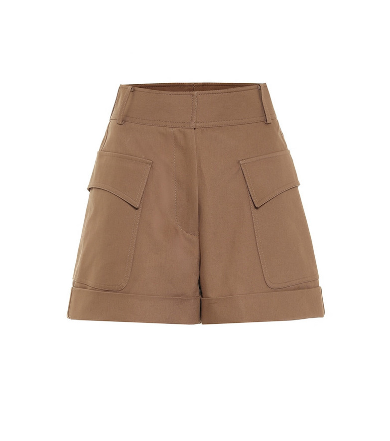 Victoria Beckham High-rise cotton shorts in brown