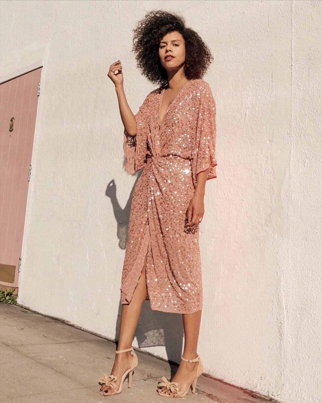 dress sequin dress wrap dress midi dress pink dress high heel sandals