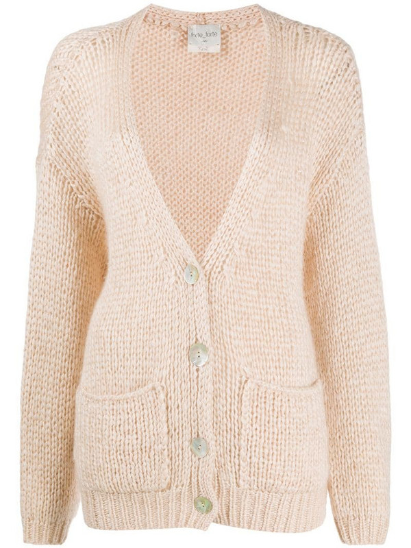 Forte Forte longline chunky knit cardigan in pink
