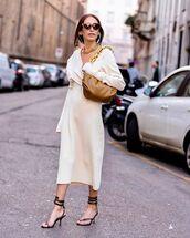 bag,brown bag,bottega veneta,sandal heels,midi dress